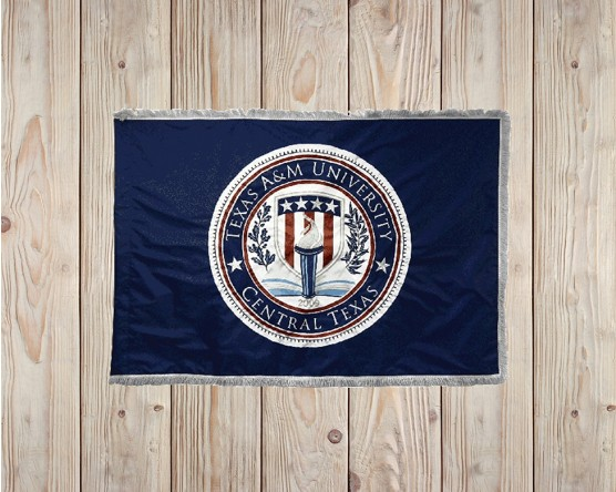 University flag with embroidered seal