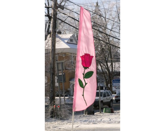 Rose Applique Feather Flag