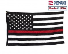 Thin Red Line Embroidered Flag-3x5'