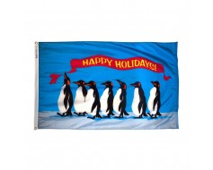 Penguins Happy Holidays Flag - 2x3'