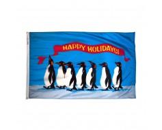 Penguins Happy Holidays Flag - 2x3'