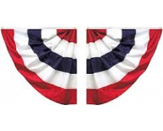 Patriotic Pleated Half Fan Set, Cotton 3' (Five Stripes)