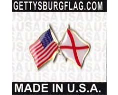 Alabama State Flag Lapel Pin (Double Waving Flag w/USA)