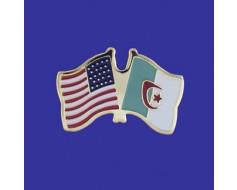 Algeria Lapel Pin (Double Waving Flag w/USA)