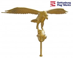 Flying Eagle Flagpole Ornament Gold Aluminum - Choose Opt...