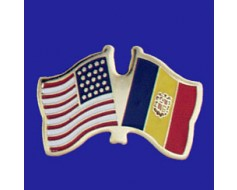 Andorra (seal design) Lapel Pin (Double Waving Flag w/USA)