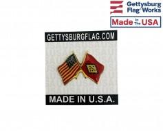 Arkansas State Flag Lapel Pin (Double Waving Flag w/USA)