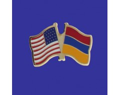 Armenia Lapel Pin (Double Waving Flag w/USA)
