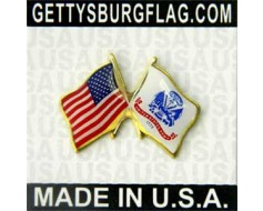 Army Lapel Pin (Double Waving Flag w/USA)