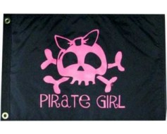 Pirate Girl Flag (bow) - 12x18""