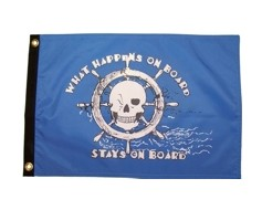 What Happens Aboard Flag - Blue - 12x18""