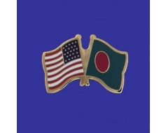 Bangladesh Lapel Pin (Double Waving Flag w/USA)