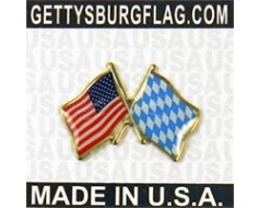 Bavaria (lozenge style) Lapel Pin (Double Waving Flag w/USA)