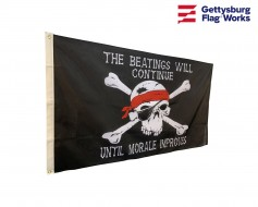 The Beatings Will Continue Until Morale Improves Pirate Flag