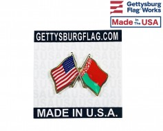 Belarus Lapel Pin (Double Waving Flag w/USA)