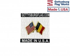 Belgium Lapel Pin (Double Waving Friendship with USA Flag)