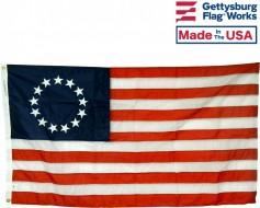 Betsy Ross Flag, 12x18' for boat, Nylon, Header & Grommets