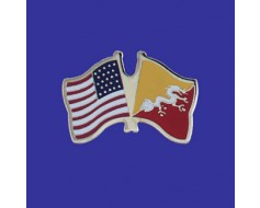 Bhutan Lapel Pin (Double Waving Flag w/USA)