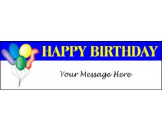 Happy Birthday Balloons Banner - Blue