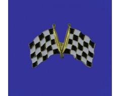 Black & White Checkers Lapel Pin (Double Waving Flag w/USA)