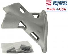"""Flag Bracket 2 Position Silver Aluminum - 1.25"""" Diameter"""