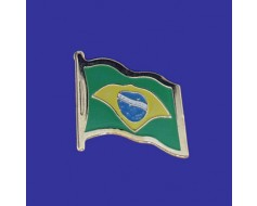 Brazil Lapel Pin (Single Waving Flag)