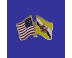 Brunei Lapel Pin (Double Waving Flag w/USA)