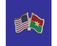 Burkina Lapel Pin (Double Waving Flag w/USA)