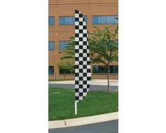 """Black/White Checkered Feather Flag 12'x26"""""""