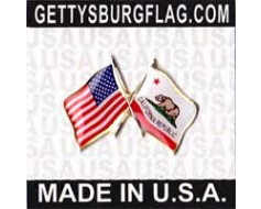 California Lapel Pin (with US Flag)