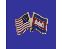 Cambodia Lapel Pin (Double Waving Flag w/USA)
