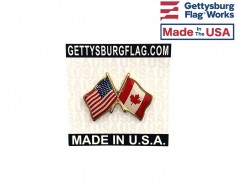 Canada Lapel Pin (Double Waving Friendship with USA Flag)