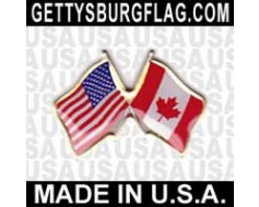 Canada  Lapel Pin (Double Waving Flag w/USA)