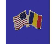 Chad Lapel Pin (Double Waving Flag w/USA)
