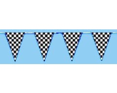 Black & White Checkered Triangle Pennants