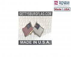 Christian Lapel Pin (double waving flag w/USA)