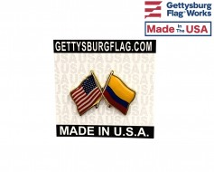 Colombia Lapel Pin (Double Waving Friendship with USA Flag)