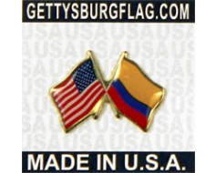 Colombia Lapel Pin (Double Waving Flag w/USA)
