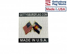 Colorado State Flag Lapel Pin (Double Waving Flag w/USA)