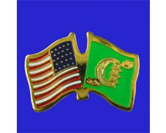 Comoros Lapel Pin (Double Waving Flag w/USA)