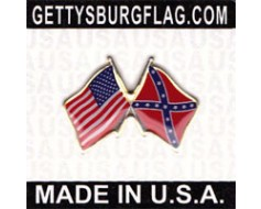 Confederate Battle Flag Lapel Pin (Double Waving Flag w/USA)