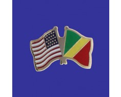 Congo Republic Lapel Pin (Double Waving Flag w/USA)
