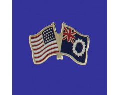 Cook Islands Lapel Pin (Double Waving Flag w/USA)