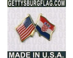 Croatia Lapel Pin (Double Waving Flag w/USA)