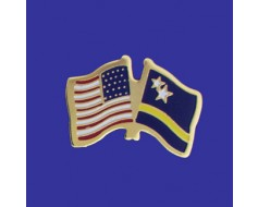 Curacao Lapel Pin (Double Waving Flag w/USA)