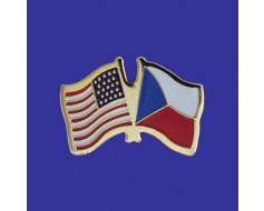 Czech Republic Lapel Pin (Double Waving Flag w/USA)