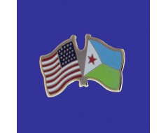 Djibouti Lapel Pin (Double Waving Flag w/USA)
