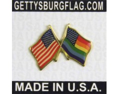 New Glory Rainbow Flags Crossed  Lapel Pin