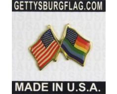 New Glory Rainbow Flags Crossed  Lapel Pin