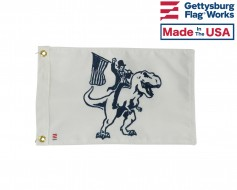 Honest Abe on a T-Rex - Double sided Boat Flag - 12x18""